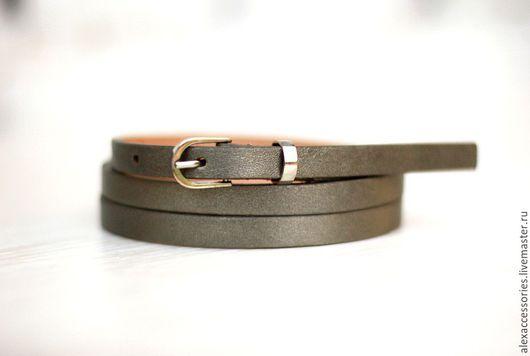 Пояса, ремни ручной работы. Ярмарка Мастеров - ручная работа. Купить Узкий кожаный темно-серебристый ремень. Handmade.