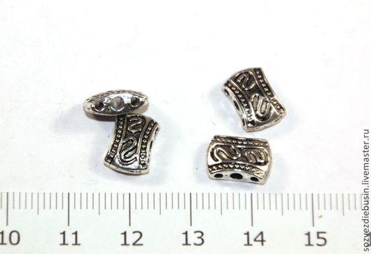 Для украшений ручной работы. Ярмарка Мастеров - ручная работа. Купить Коннектор-бусина, на 3 нити, цвет античное серебро. Handmade.