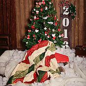 Для дома и интерьера ручной работы. Ярмарка Мастеров - ручная работа Новогоднее одеяло (покрывало). Handmade.