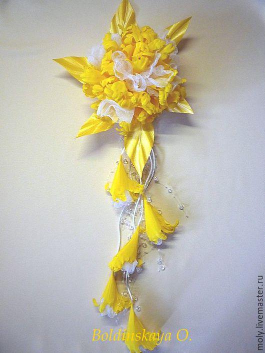 Броши ручной работы. Ярмарка Мастеров - ручная работа. Купить орхидея с бутонами. Handmade. Желтый, цветы из шелка, украшение для невесты