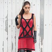 Одежда ручной работы. Ярмарка Мастеров - ручная работа Красный топ, черная портупея. Handmade.