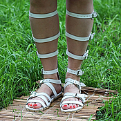 Обувь ручной работы handmade. Livemaster - original item roman sandals leather white. Handmade.