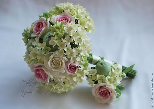 """Свадебные цветы ручной работы. Ярмарка Мастеров - ручная работа. Купить Букет невесты из полимерной глины """"Яблочная нежность"""". Handmade."""