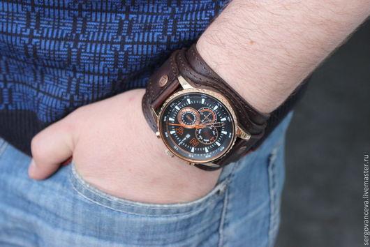 """Часы ручной работы. Ярмарка Мастеров - ручная работа. Купить Часы наручные мужские """"Его стиль"""". Handmade. Коричневый"""