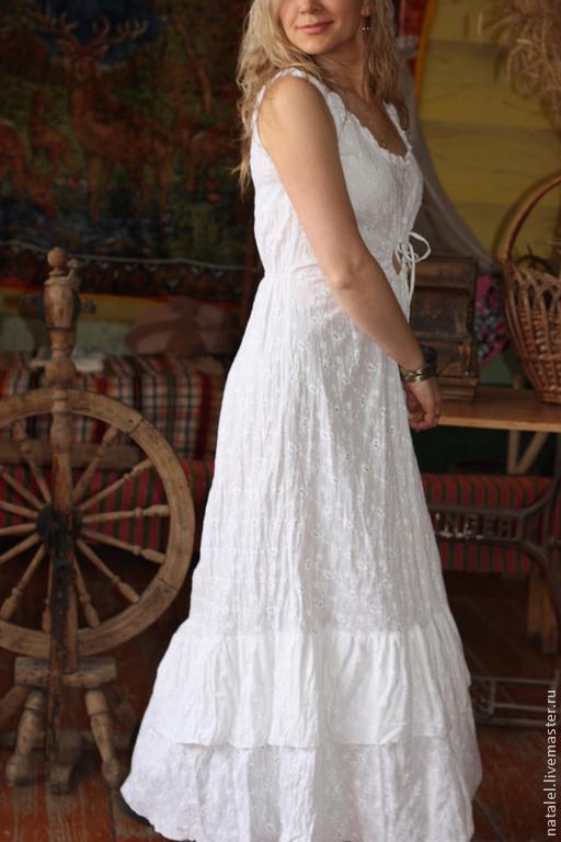Платья ручной работы. Ярмарка Мастеров - ручная работа. Купить Платье белое из шитья бохо стиль прованс кантри. Handmade.