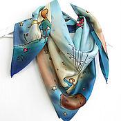 """Аксессуары handmade. Livemaster - original item Батик платок """"Маленький Принц"""" 90x90 шелковый атлас. Handmade."""