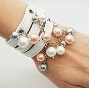 """Украшения ручной работы. Ярмарка Мастеров - ручная работа Белый браслет из кожи """"Pearls"""". Handmade."""