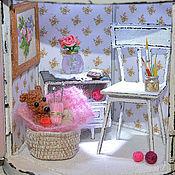 """Куклы и игрушки ручной работы. Ярмарка Мастеров - ручная работа Миниатюра в фонаре """"Розовый вечер""""(ночник). Handmade."""