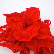"""Украшения ручной работы. Ярмарка Мастеров - ручная работа брошь """"Красная орхидея"""". Handmade."""