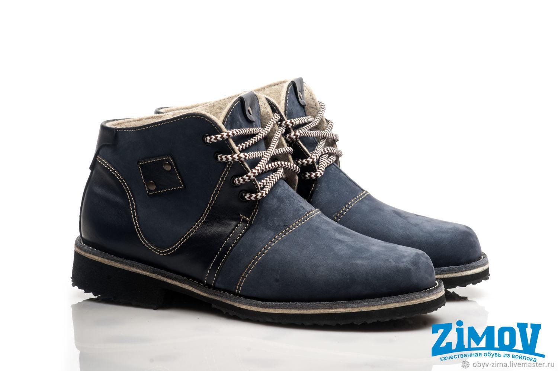 Обувь ручной работы. Ярмарка Мастеров - ручная работа. Купить Ботинки мужские комбинированные Синие. Handmade. Зима, войлок