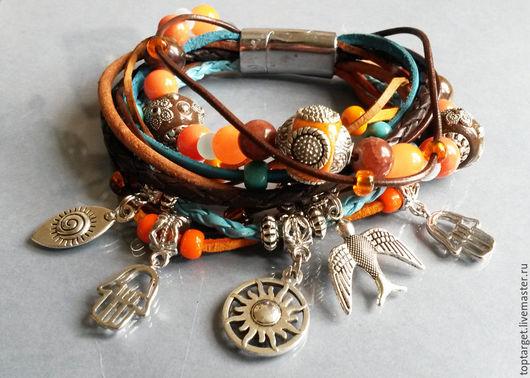 """Браслеты ручной работы. Ярмарка Мастеров - ручная работа. Купить Кожаный браслет """"Берберские символы"""". Handmade. Оранжевый, африканские мотивы"""