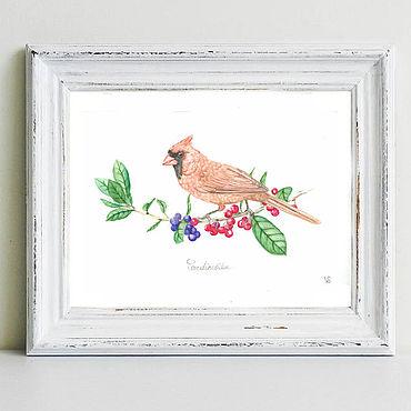 Картины и панно ручной работы. Ярмарка Мастеров - ручная работа Птичка акварель красный кардинал. Handmade.