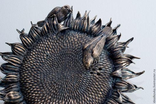 скульптура металлическая ПТИЧКИ на подсолнухе