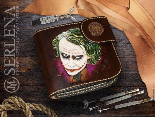 """Кошельки и визитницы ручной работы. Ярмарка Мастеров - ручная работа. Купить кошелек """"Joker"""". Handmade. Коричневый, ручная авторская работа"""
