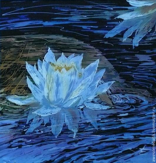 Картины цветов ручной работы. Ярмарка Мастеров - ручная работа. Купить Панно батик Кувшинка. Handmade. Цветы, панно, Батик