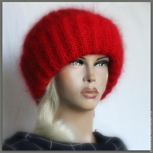 """Шапки ручной работы. Ярмарка Мастеров - ручная работа. Купить """"А-ля"""" шапка вязаная красная. Handmade. Ярко-красный"""
