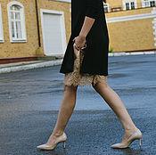 Одежда ручной работы. Ярмарка Мастеров - ручная работа Трикотажное платье с кружевной комбинацией. Handmade.