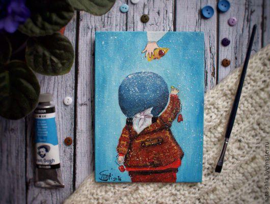 """Репродукции ручной работы. Ярмарка Мастеров - ручная работа. Купить Репродукция картины Е.Гапчинской """"За пирожком"""". Handmade. Голубой"""