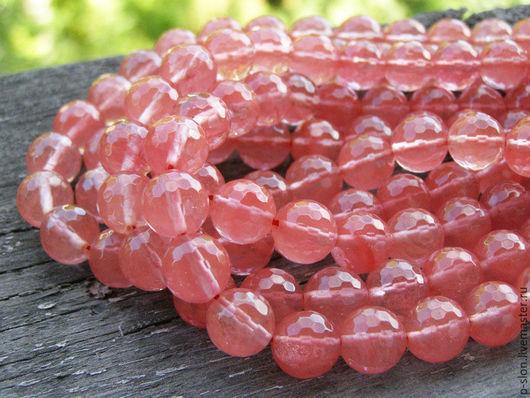 Для украшений ручной работы. Ярмарка Мастеров - ручная работа. Купить Бусины розовый (вишневый) кварц огранкой с 10мм Б152. Handmade.