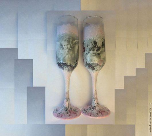 """Свадебные аксессуары ручной работы. Ярмарка Мастеров - ручная работа. Купить Свадебные бокалы """"Ангелы"""". Handmade. Белый, подарок молодоженам"""
