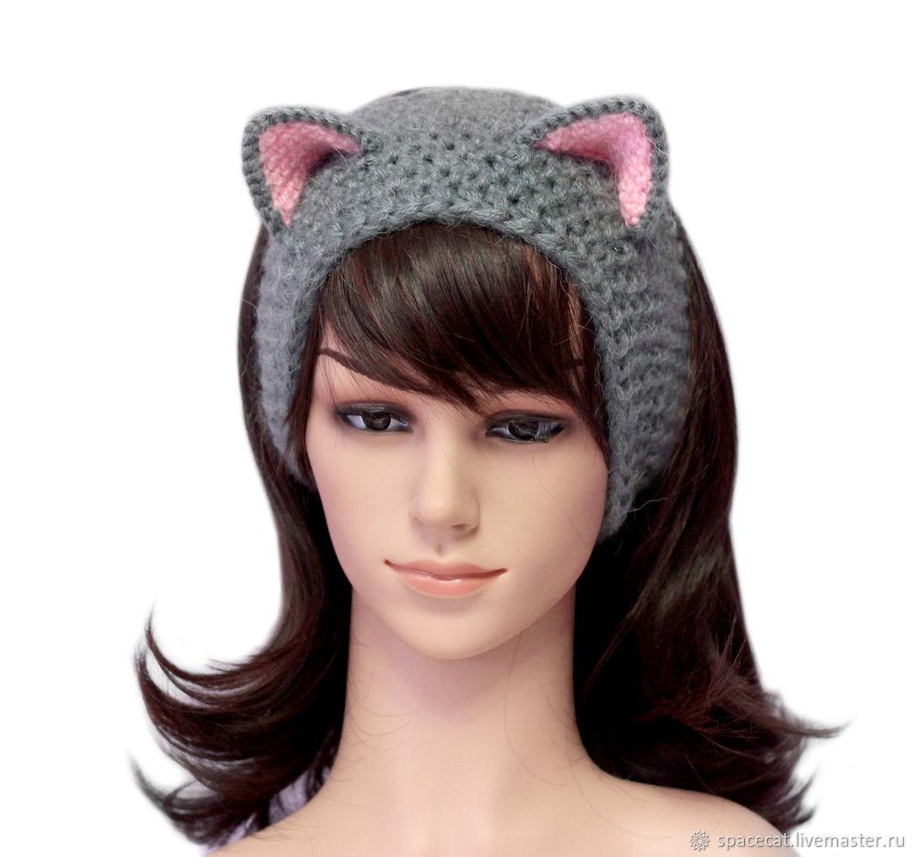 повязка на голову с ушками кошка вязаная для волос серая купить в