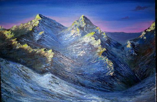 """Пейзаж ручной работы. Ярмарка Мастеров - ручная работа. Купить """"А горы, как море"""",авторская картина маслом. Handmade. закат"""