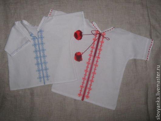 Этническая одежда ручной работы. Ярмарка Мастеров - ручная работа. Купить детские рубашечки для новорожденных. Handmade. Белый, детская одежда