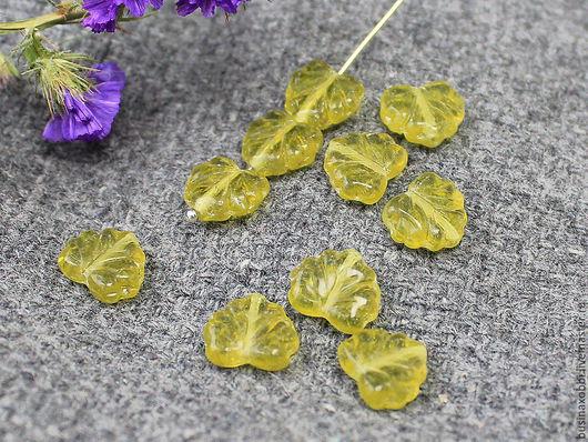 Чешские бусины листок оливковый, размер 11 мм х 13 мм, по 1 шт Бусины листочки имеют вертикальное отверстие около 1 мм