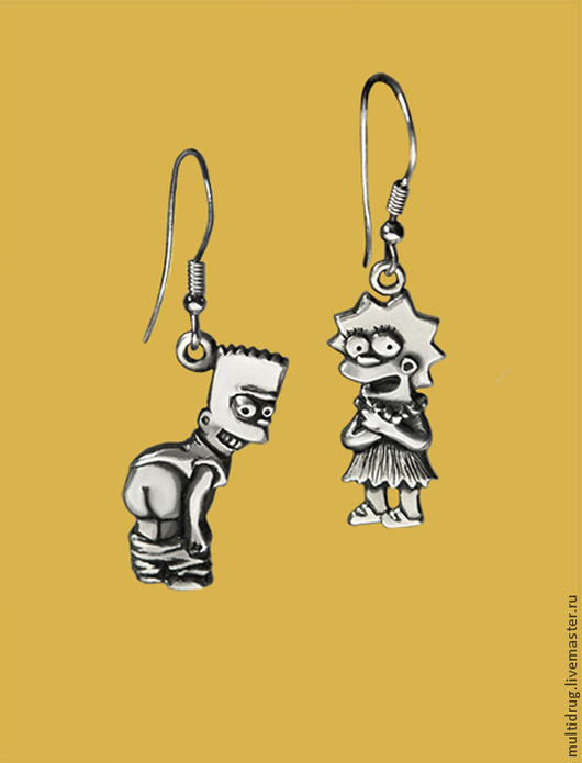 """Серьги ручной работы. Ярмарка Мастеров - ручная работа. Купить Серьги """"Барт и Лиза"""". Handmade. Серебряный, кулон, герои мультфильмов"""