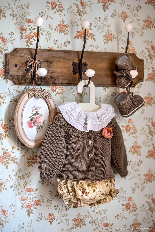 Комплект с блумерами для малышки в винтажном стиле, хаки, Комплекты одежды, Петрозаводск, Фото №1