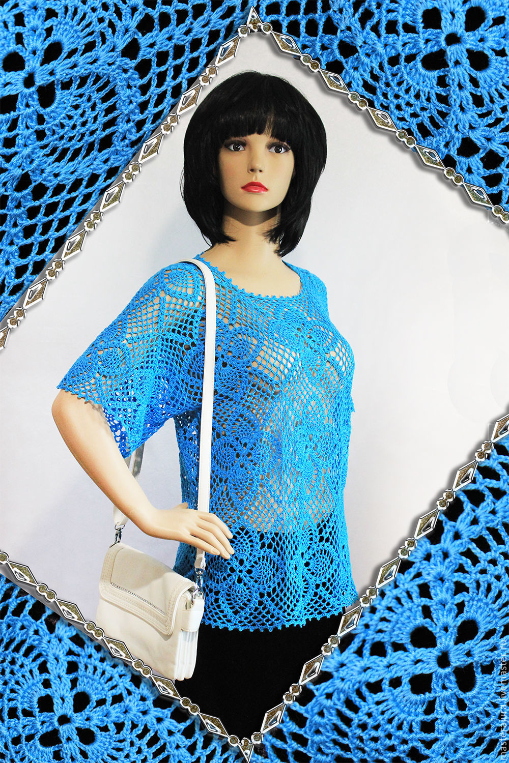 Knitted hollow crochet top. summer, cotton, handmade.