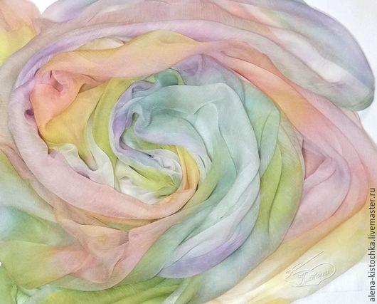 Шали, палантины ручной работы. Ярмарка Мастеров - ручная работа. Купить Палантин  Пастельная радуга батик 100% шелк. Handmade.