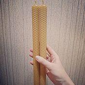 handmade. Livemaster - original item Candles: tall wax candles made of wax without herbs 30cm. Handmade.