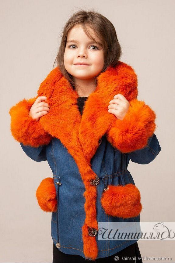 Детская джинсовая парка утепленная с натуральным мехом кролика, Одежда, Ставрополь, Фото №1