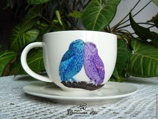"""Сервизы, чайные пары ручной работы. Ярмарка Мастеров - ручная работа. Купить Чайная пара """"Волшебные совы"""". Handmade. Сиреневый"""