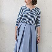 Одежда ручной работы. Ярмарка Мастеров - ручная работа Голубая юбка на поясе, в складку, в стиле 1950-х, костюмная шерсть. Handmade.