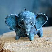 Куклы и игрушки ручной работы. Ярмарка Мастеров - ручная работа Слоненок на елку, елочная игрушка мамонт, папье-маше слон. Handmade.