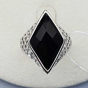 Украшения handmade. Livemaster - original item Silver ring with black onyx 18h11 mm. Handmade.
