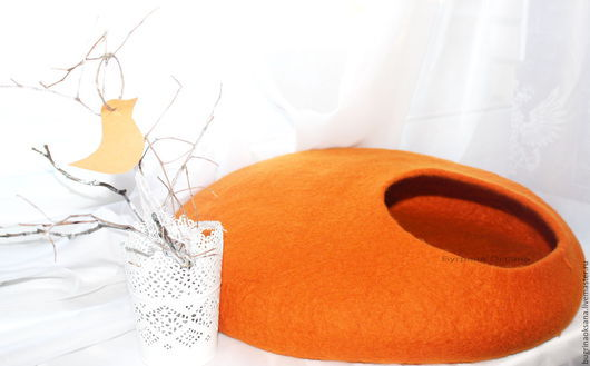 """Аксессуары для кошек, ручной работы. Ярмарка Мастеров - ручная работа. Купить Домик для кота из овечьей шерсти """"Оранж"""". Handmade."""