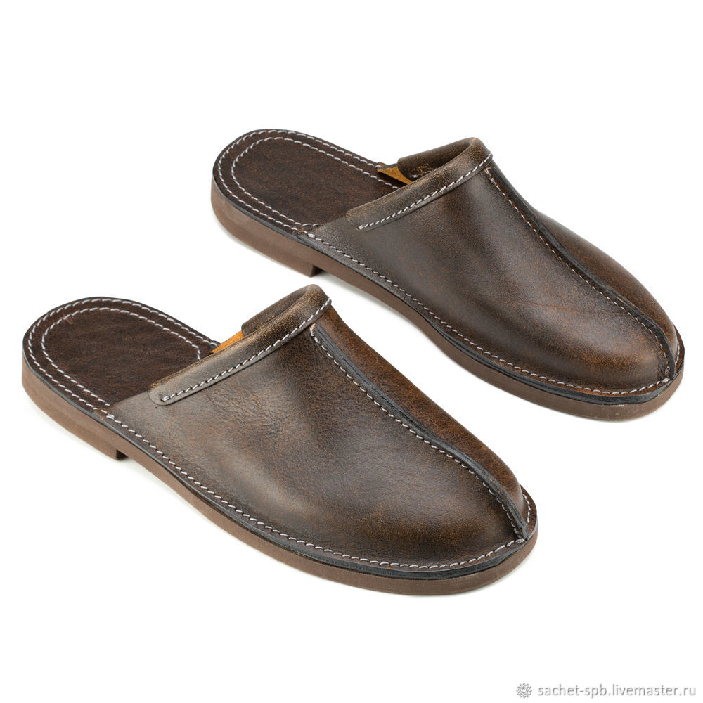Leather Slippers 'Road' (brown exclusive), Slippers, St. Petersburg,  Фото №1