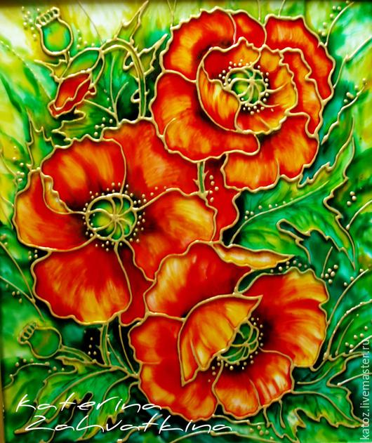 """Картины цветов ручной работы. Ярмарка Мастеров - ручная работа. Купить """"Маки алые..."""". Handmade. Ярко-красный, стекло"""