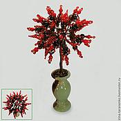 Цветы и флористика ручной работы. Ярмарка Мастеров - ручная работа Дерево любви из черного агата и красного коралла. Handmade.