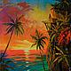 """Пейзаж ручной работы. Ярмарка Мастеров - ручная работа. Купить """"Провожая закат"""" картина маслом на холсте. Handmade. Море, оранжевый"""