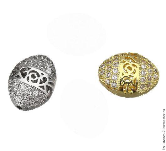 Бусина Овал ажурный, серебро и золото (Milano) Евгения (Lizzi-stones-2)