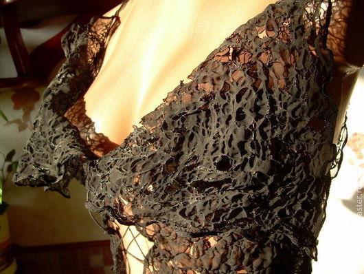 """Блузки ручной работы. Ярмарка Мастеров - ручная работа. Купить Комплект  """"Готический """"Феникс"""". Handmade. Черный, обработка ткани огнем"""