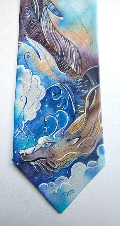Галстуки, бабочки ручной работы. Ярмарка Мастеров - ручная работа. Купить Дракон - шелковый галстук с ручной росписью. Handmade. Дракон