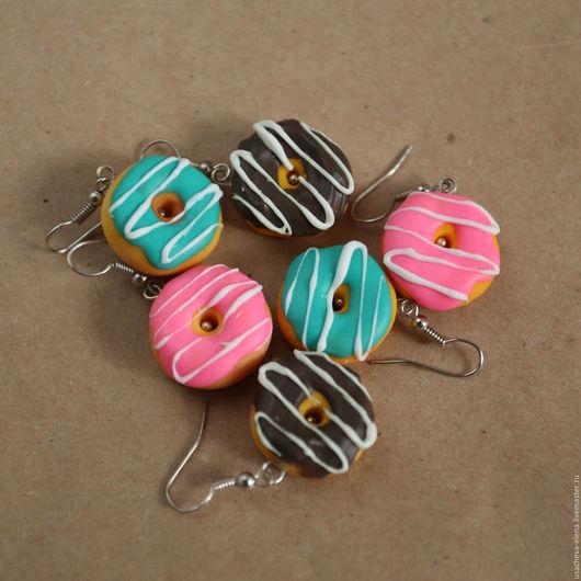 Серьги ручной работы. Ярмарка Мастеров - ручная работа. Купить Серьги: Пончики. Handmade. Пончики, симпсоны