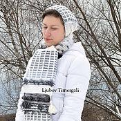 handmade. Livemaster - original item Knitted Scarf Crochet Hand Knit Long White Black Stripes Scarves. Handmade.