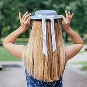 handmade. Livemaster - original item Straw Mini Boater Hat. Color blue. Handmade.