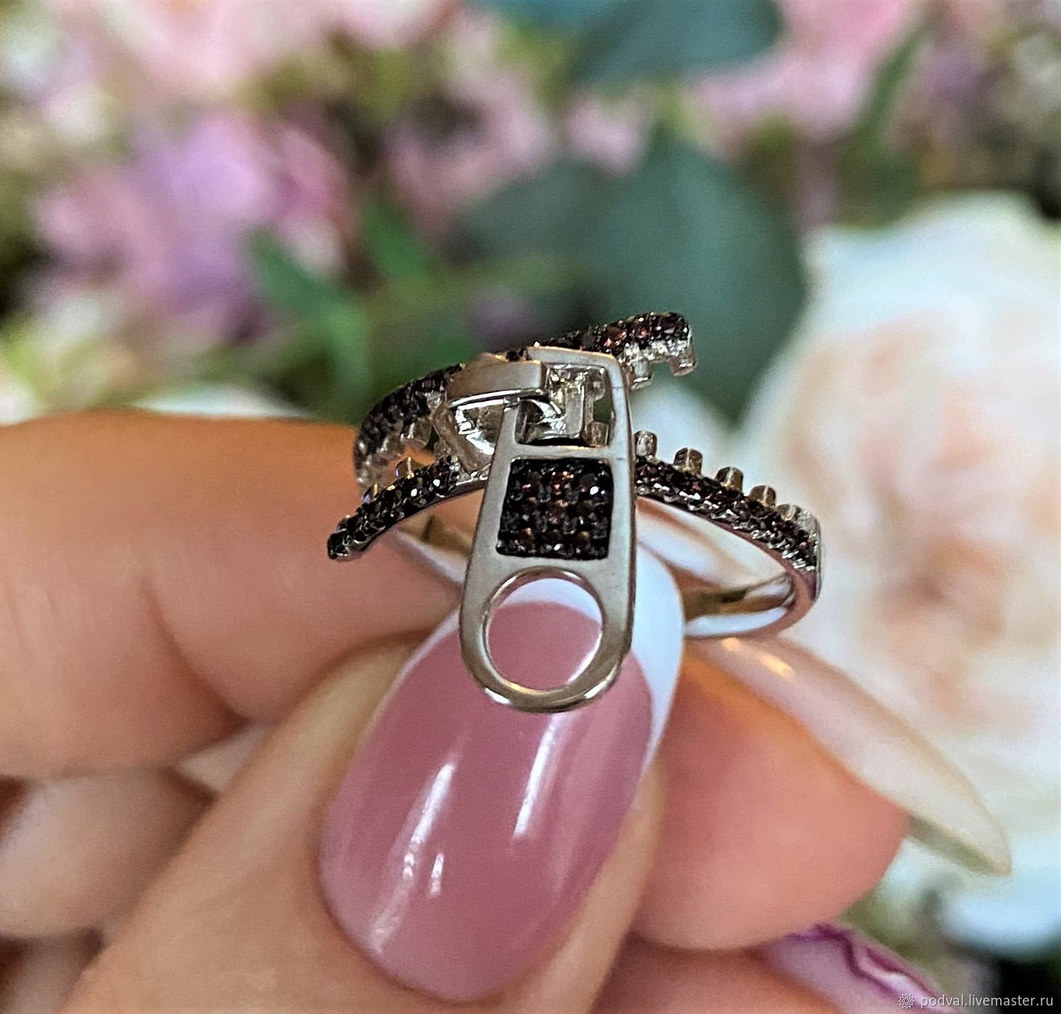 Silver ring with cubic zirconia 'Lightning' (p 17,75), Rings, Korolev,  Фото №1